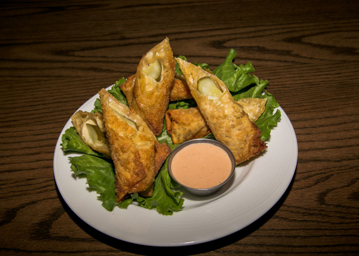 Cheesy fried pickles from the Toasted Frog