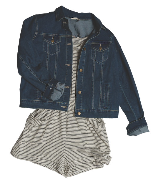 3/4 Sleeve Stripe Romper $41 Denim Jacket $53 LOT 2029